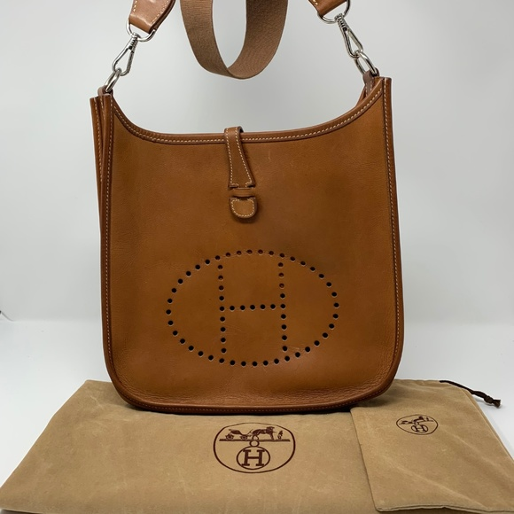 78f95b8d02 Hermes Handbags - 100% Auth Hermes Evelyne PM Cognac Box Calf Square